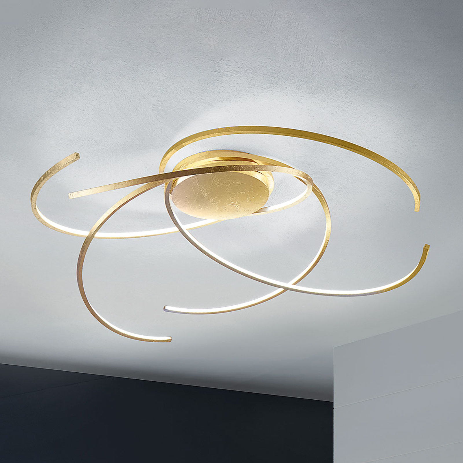 Plafonnier LED Space feuilles d'or 80 cm