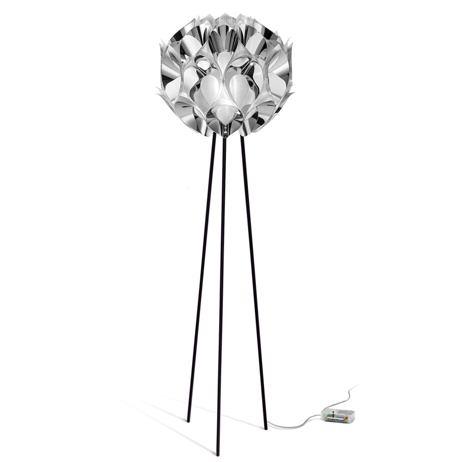 Designerska lampa stojąca FLORA, srebrna