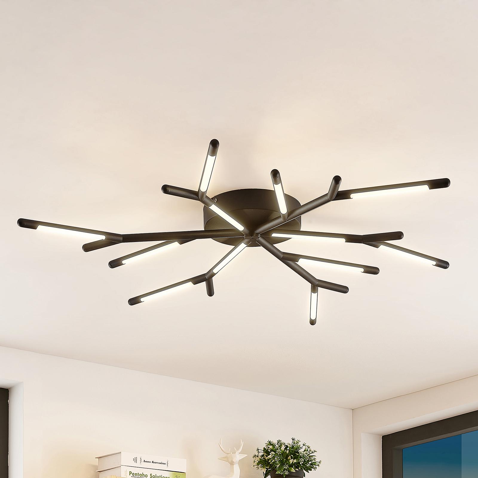 Lucande Cuerno LED-Deckenleuchte in Schwarz-Weiß