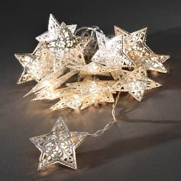 Metallstjerne LED-lyslenke i sølv, 16 stk.