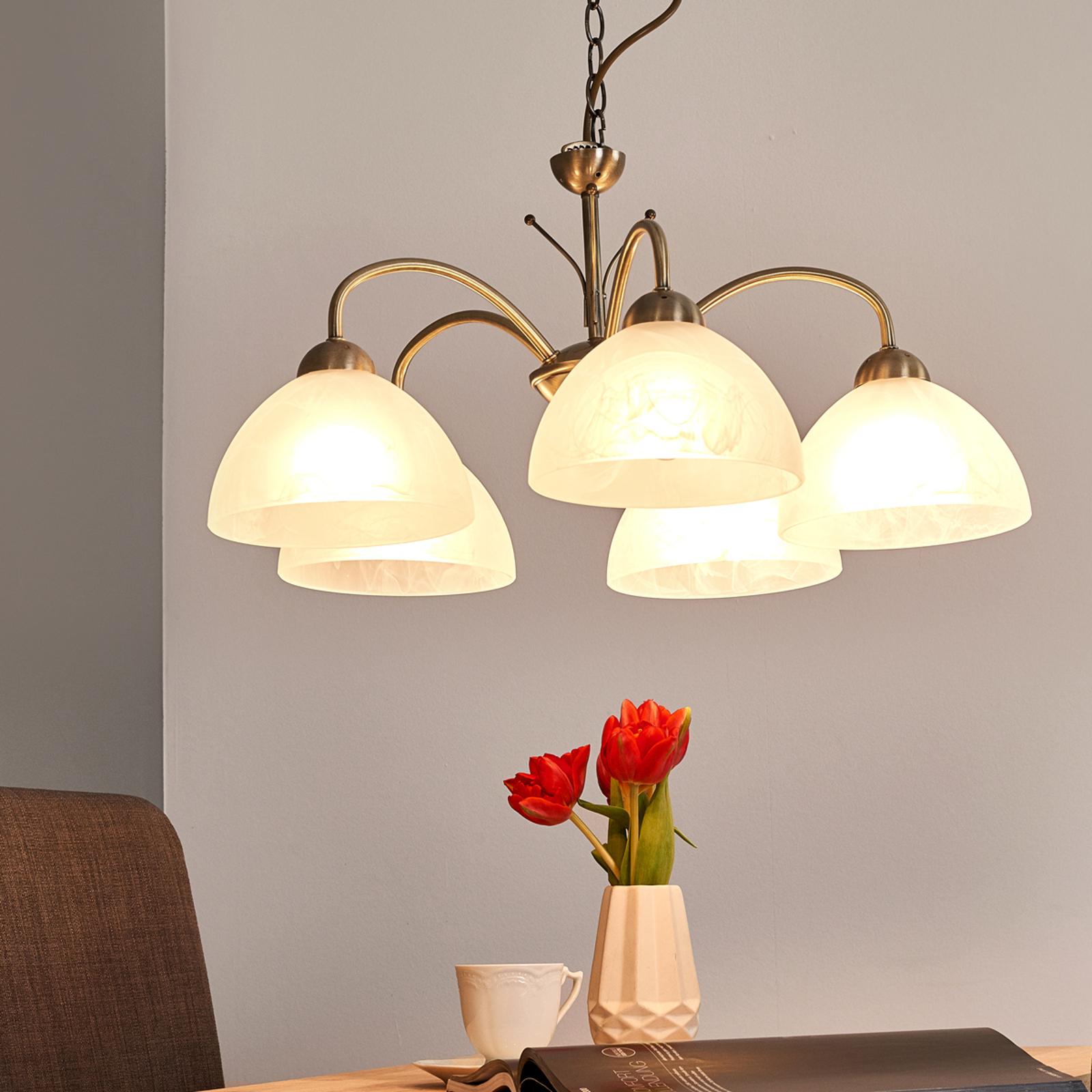 Klassieke hanglamp MILANESE, 5-lichts, oud-messing