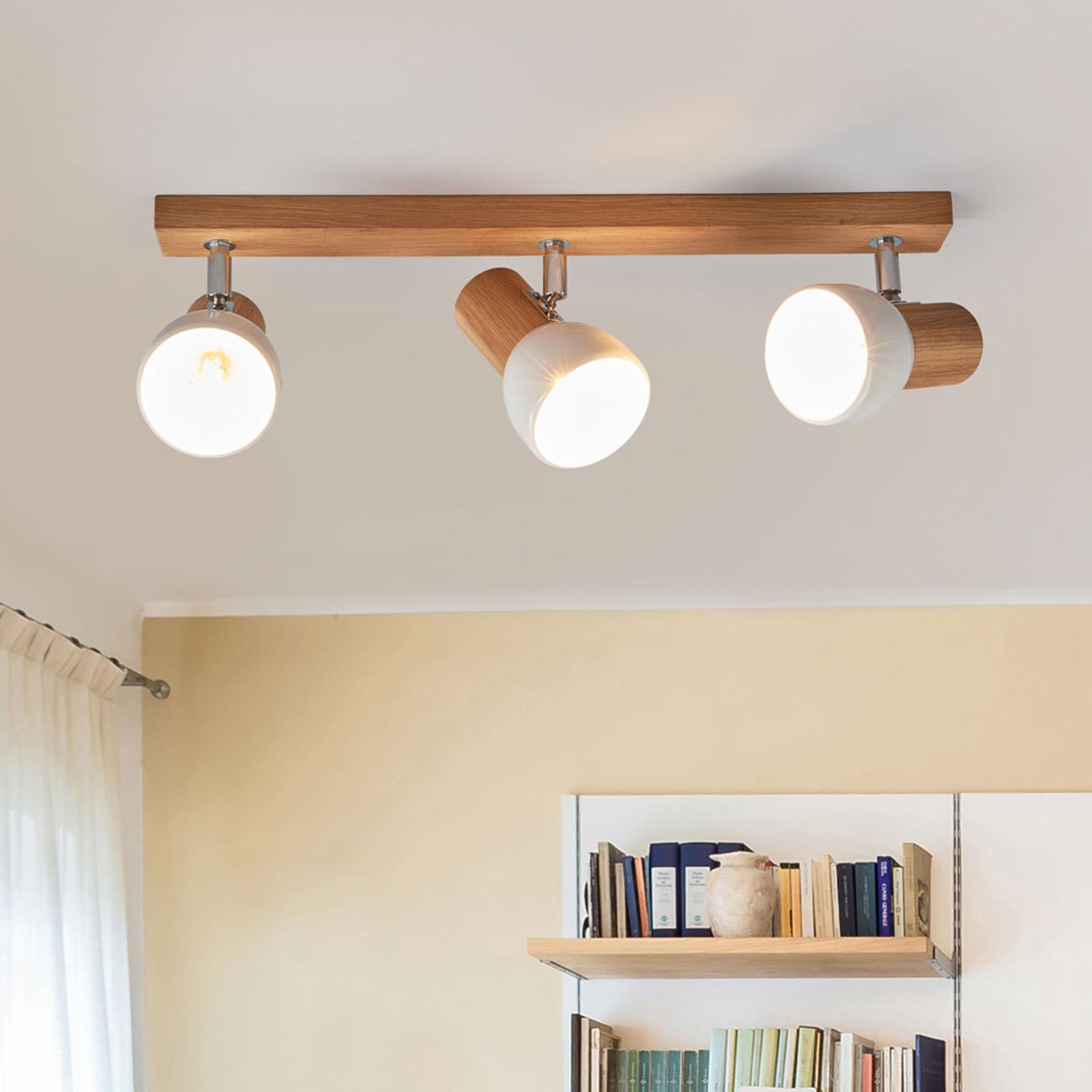 Svenda - dreiflammige Holz-Deckenlampe