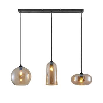 Lucande Wilja hänglampa, 3 lampor, bärnsten