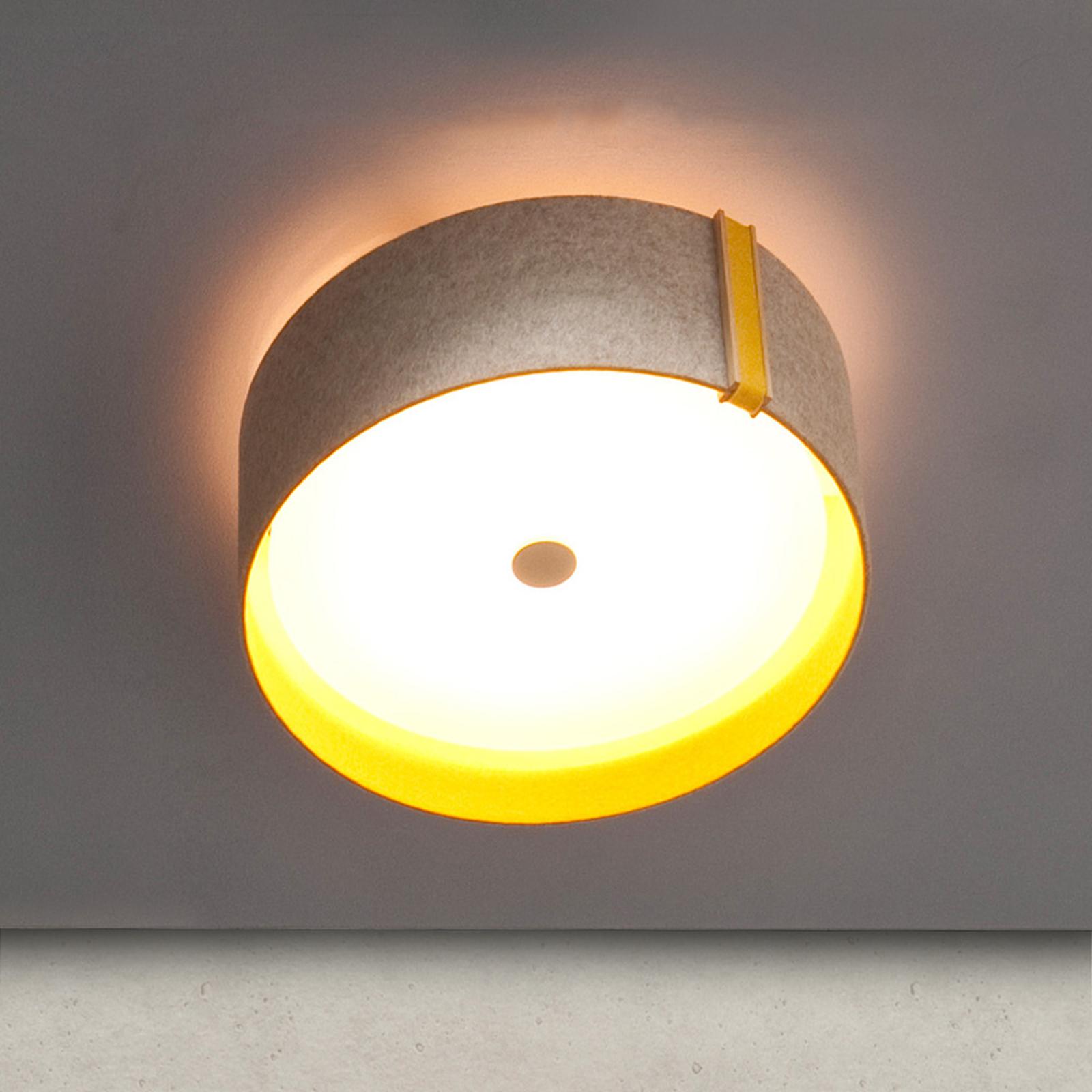Plafoniera LED Lara felt in feltro grigio-curry