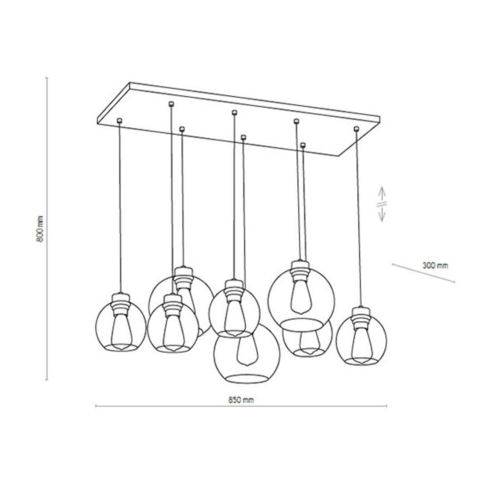 Suspension Cubus 8 lampes, transparente/miel/brune