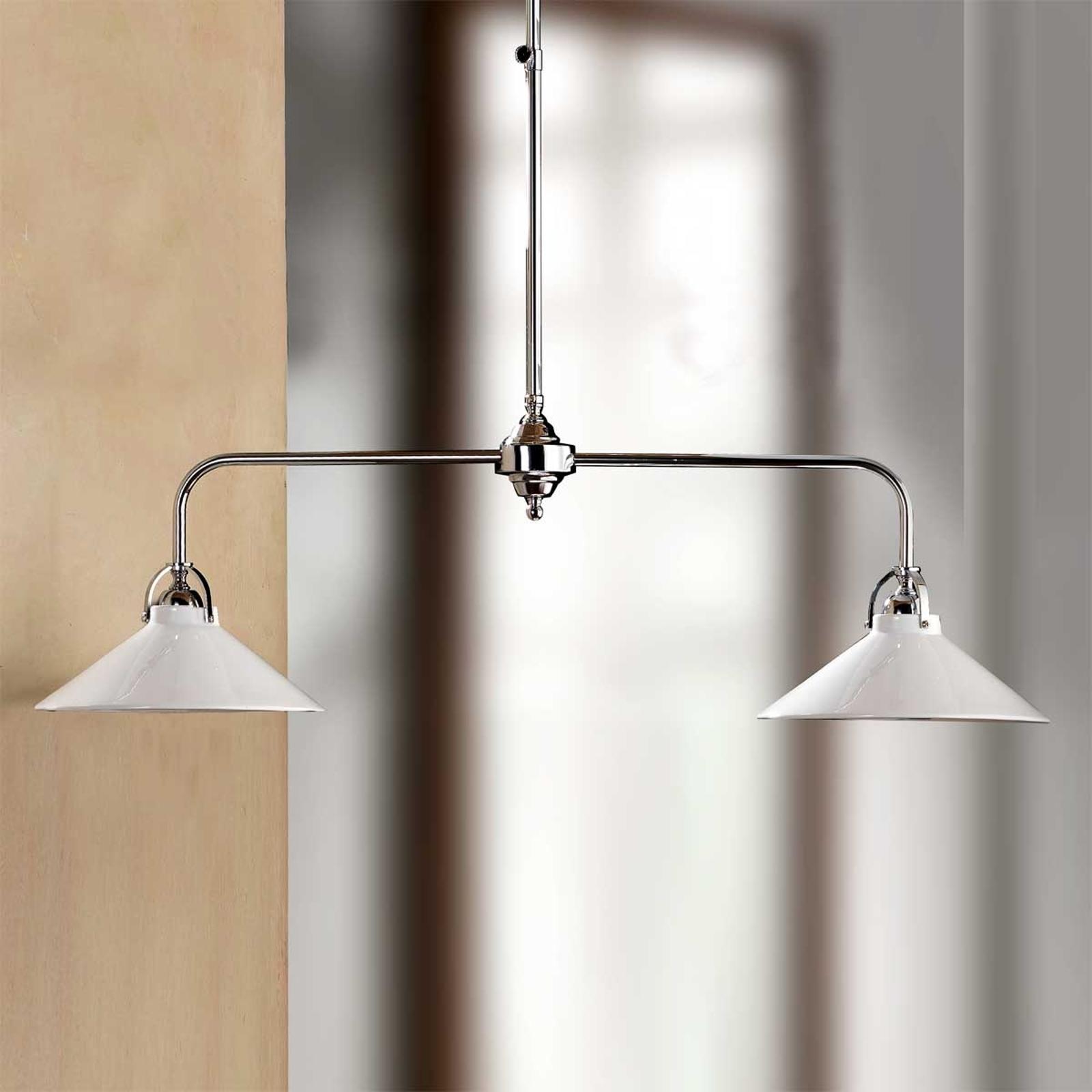 GIACOMO hengelampe m. keramikkskjermer og to lys