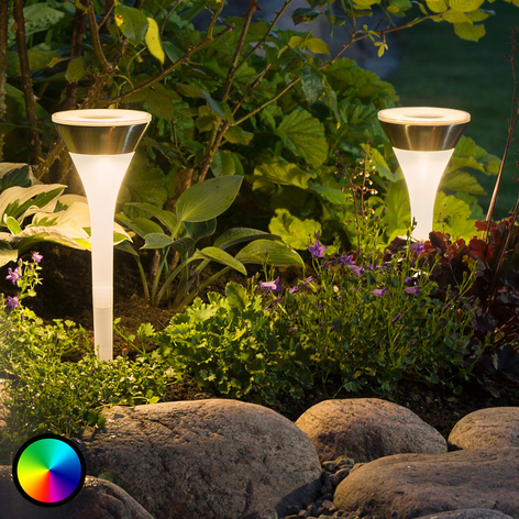 LED-Solarlampe Assisi, 2er Pack, Leuchte flach