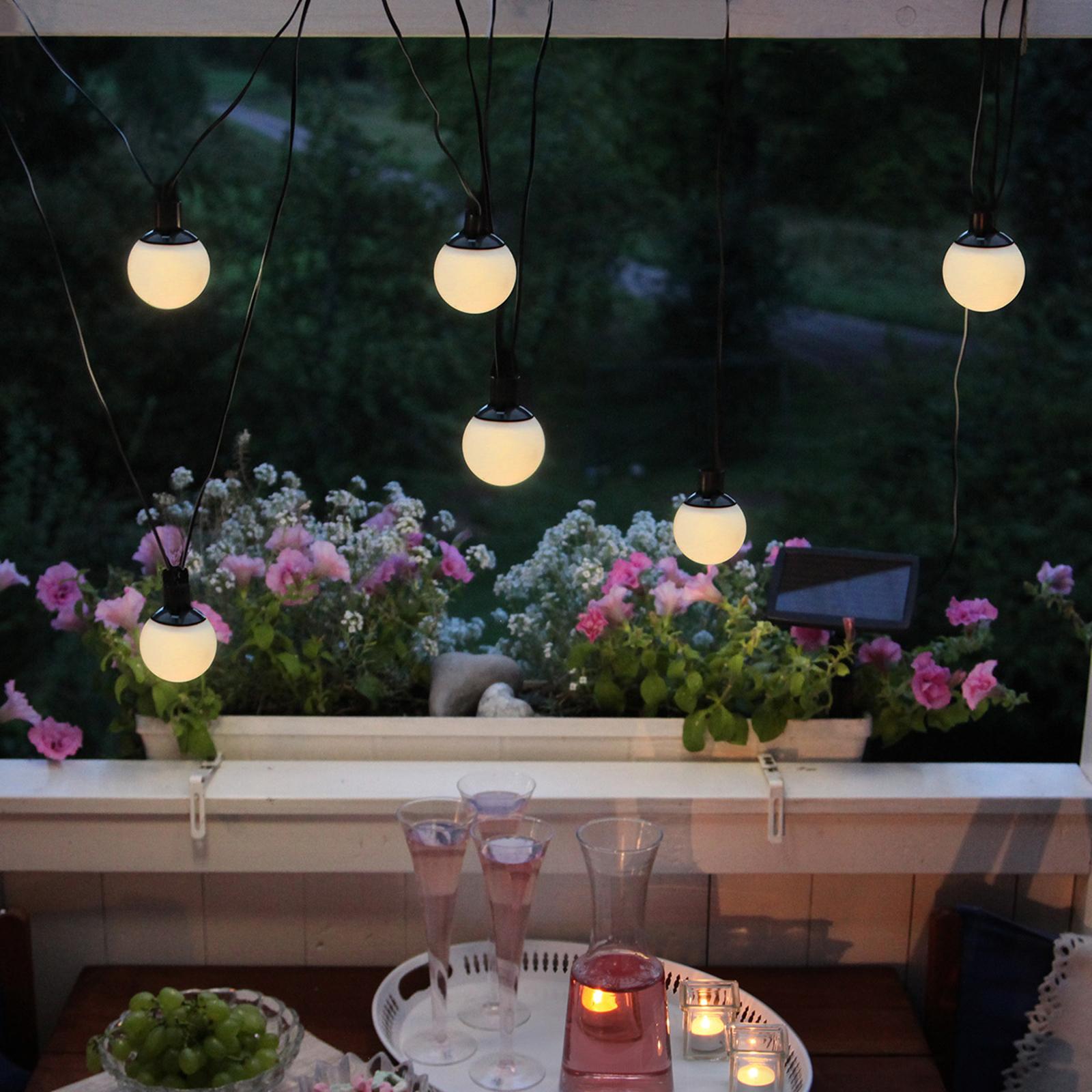 Catena luminosa solare LED con 2 globi solari