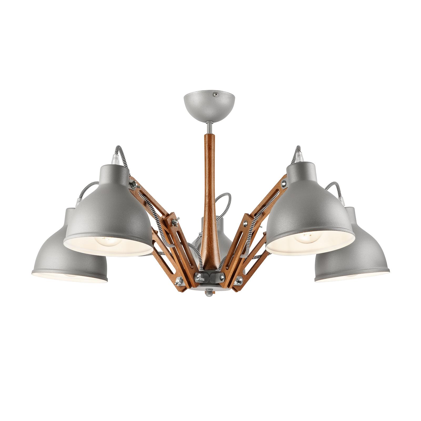 Skansen loftlampe, 5 lyskilder, justerbar, grå