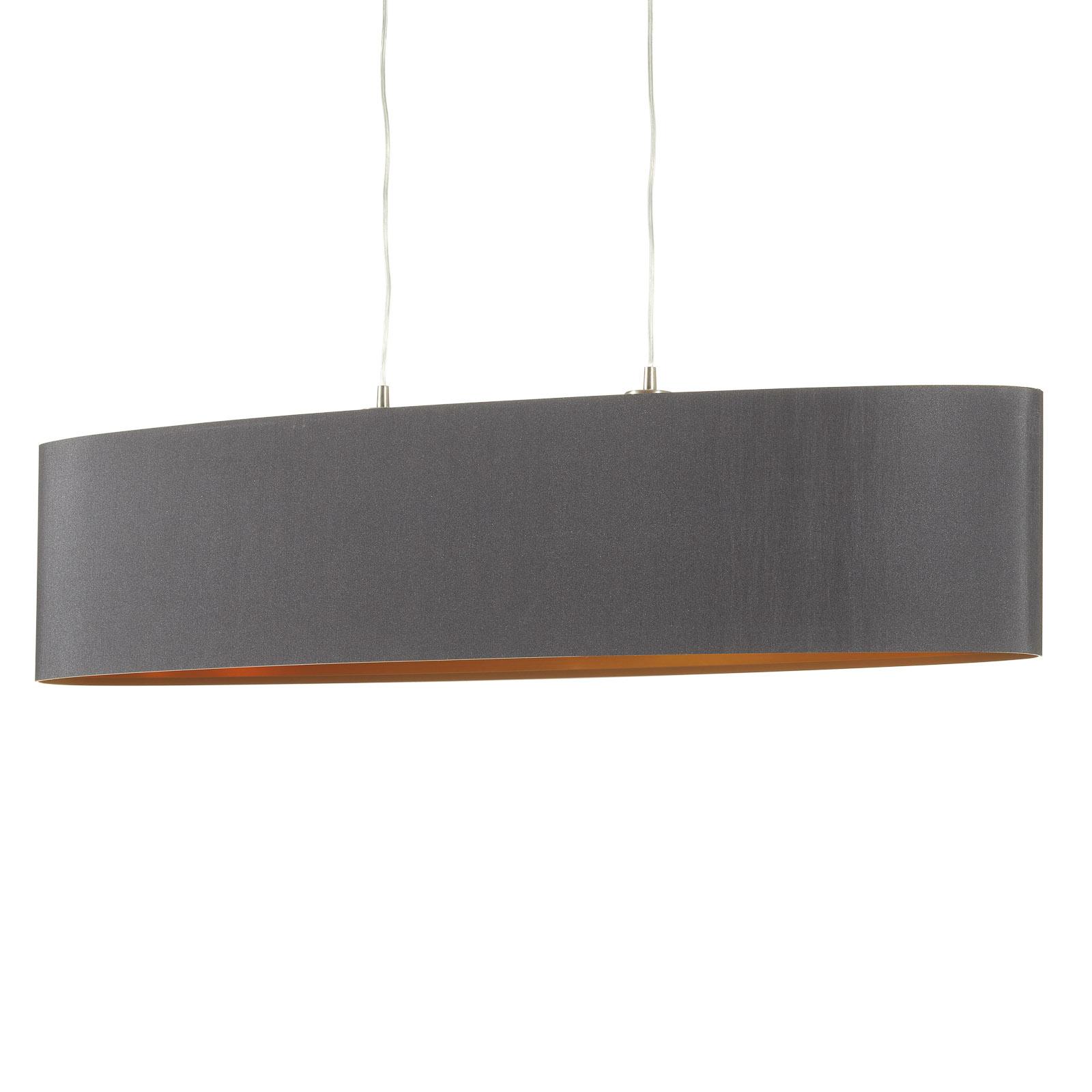 Textil Hängeleuchte Lecio, oval, 100 cm, schwarz