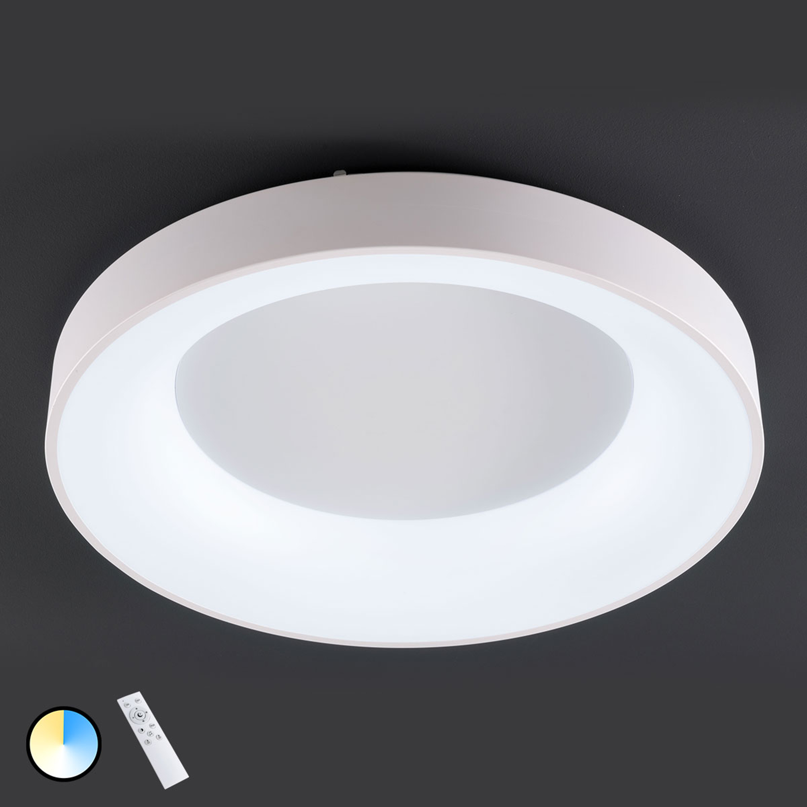LED-plafondlamp Cameron, afstandsbediening, Ø78cm