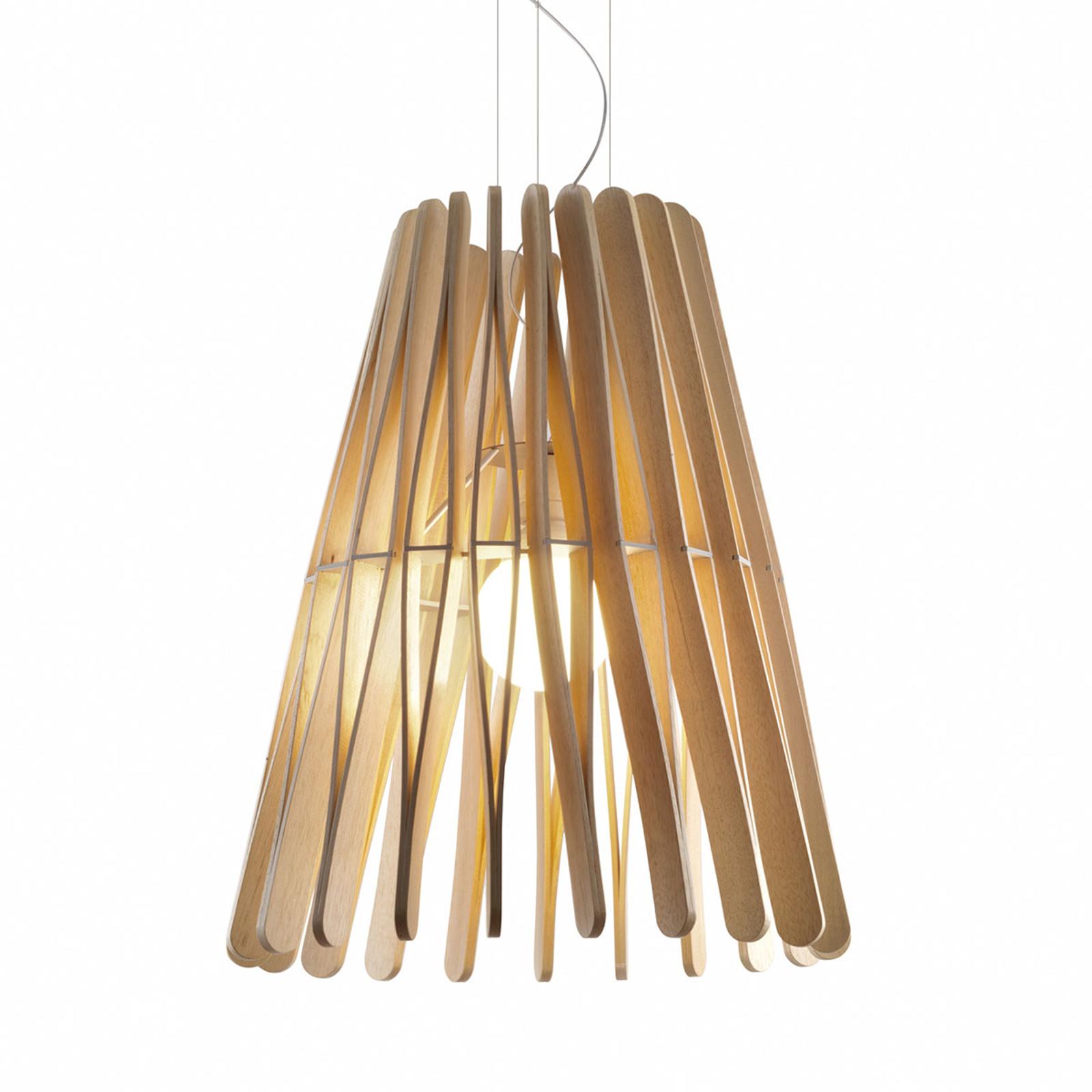 Fabbian Stick Holz-Hängeleuchte, kegelförmig