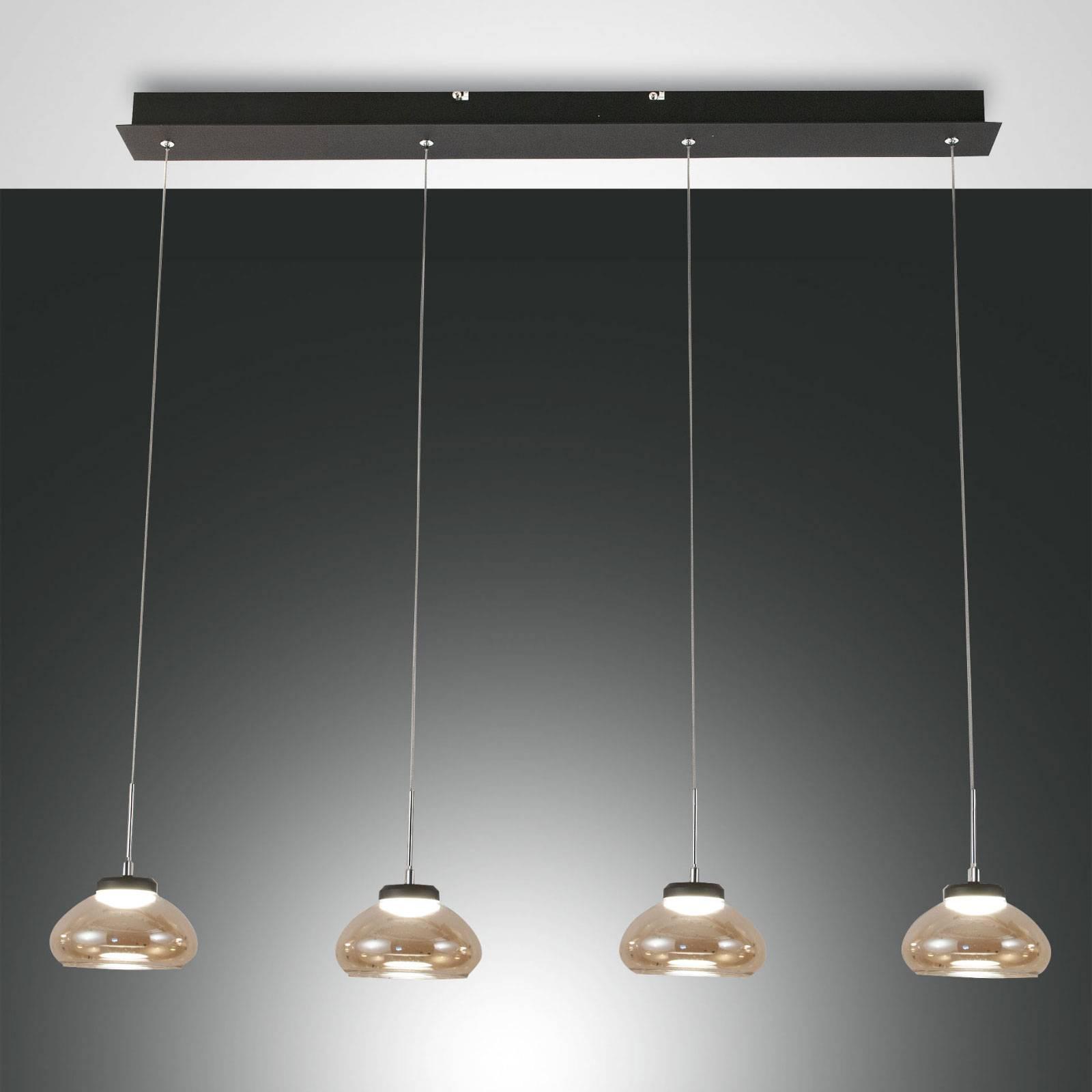 Hanglamp Arabella 4-lamps in rij, amber