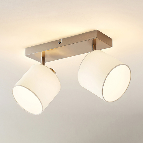 Lindby Stannis spot da soffitto, tessuto, 2 luci