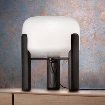Bordslampa Sata skärm i vitt, fot i svart
