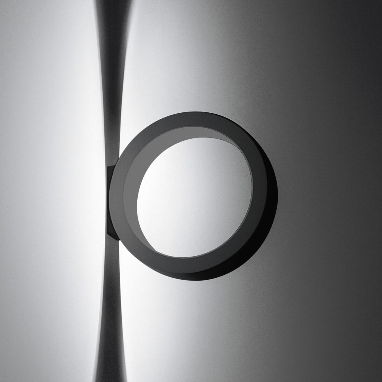 Svart LED-vägglampa Assolo i ringform