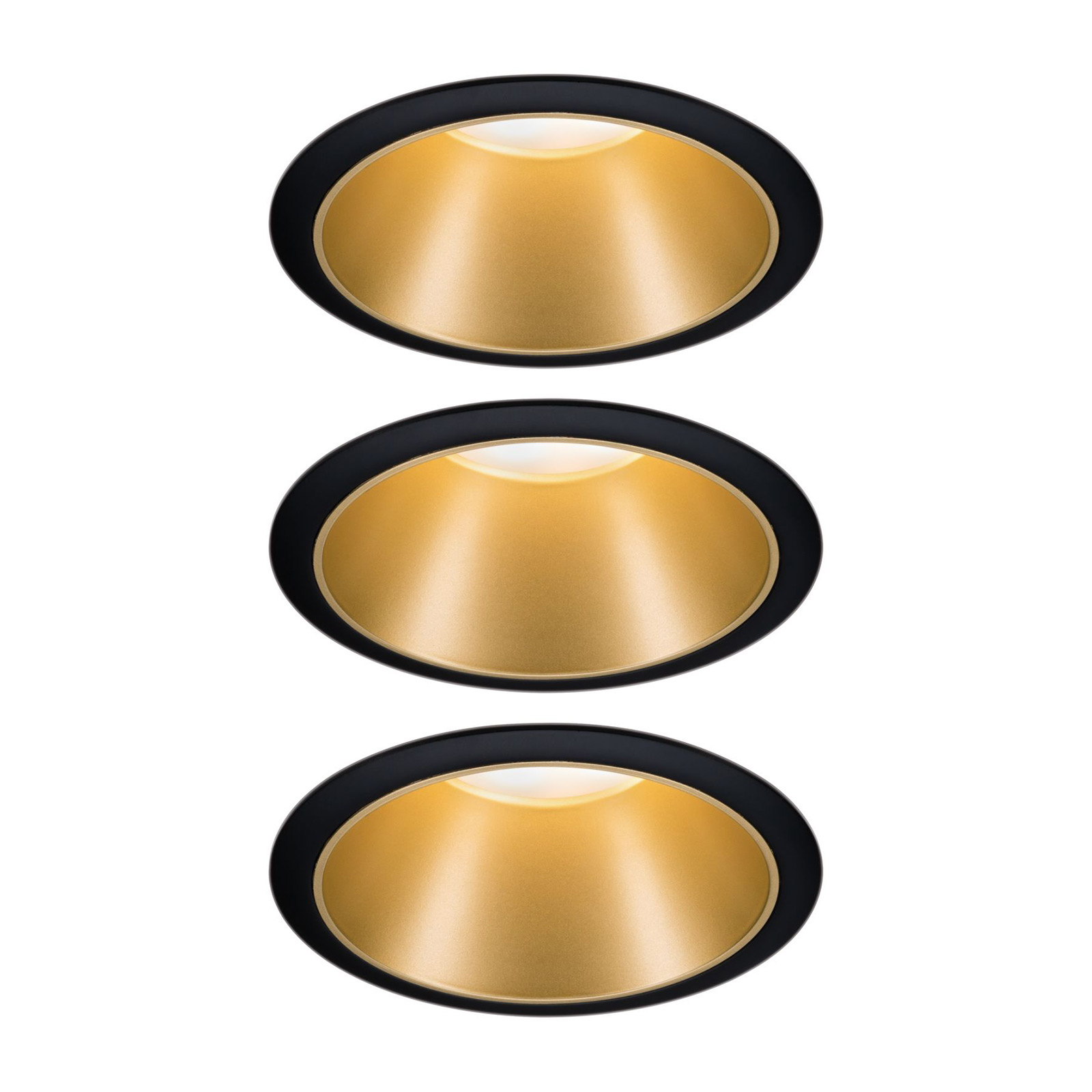 Paulmann Cole spot LED, doré-noir, lot de 3