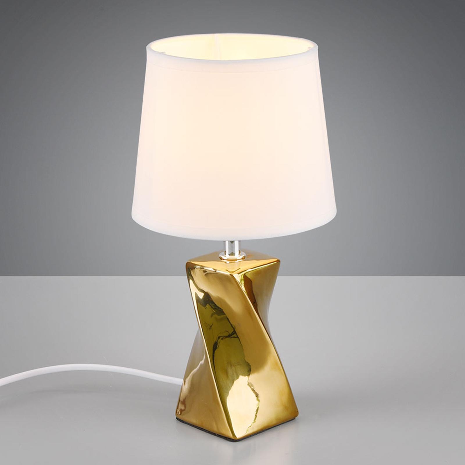 Tafellamp Abeba, Ø 15 cm, wit-goud