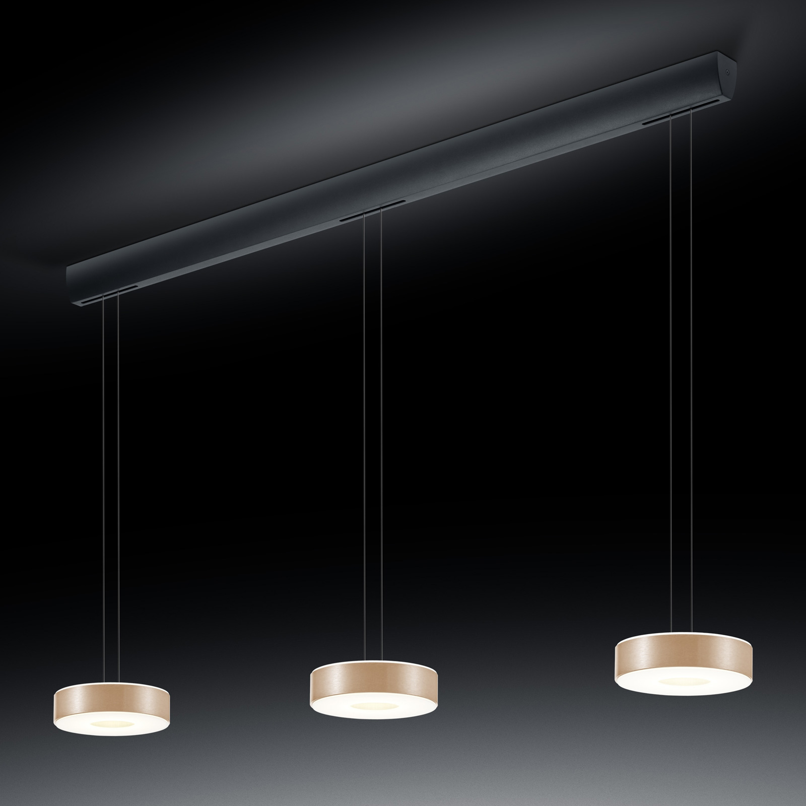 BANKAMP Tondo LED hanglamp 3-lamps roségoud