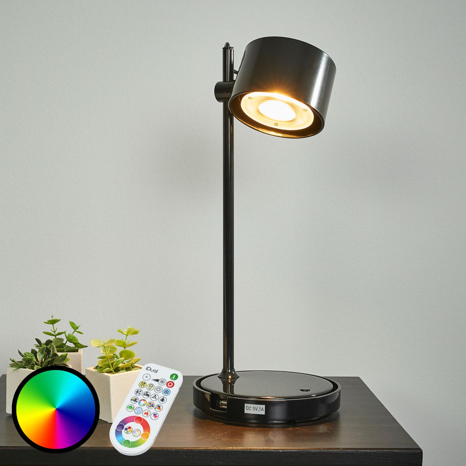 Svart LED-iDual-bordslampa Jasmine fjärrkontroll