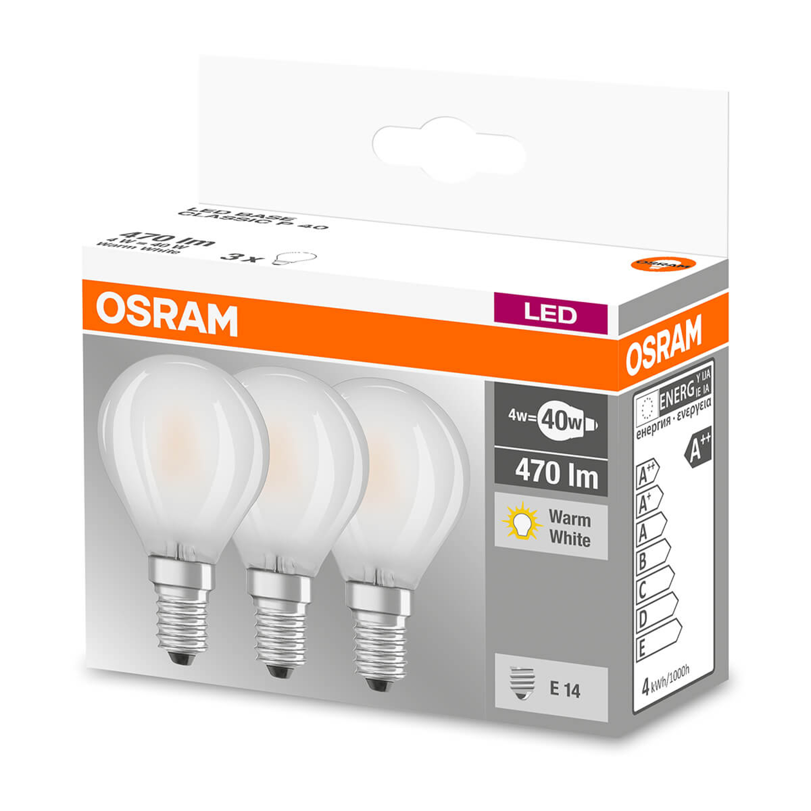 Lampadina LED E14 4W, 470 lumen, set da 3