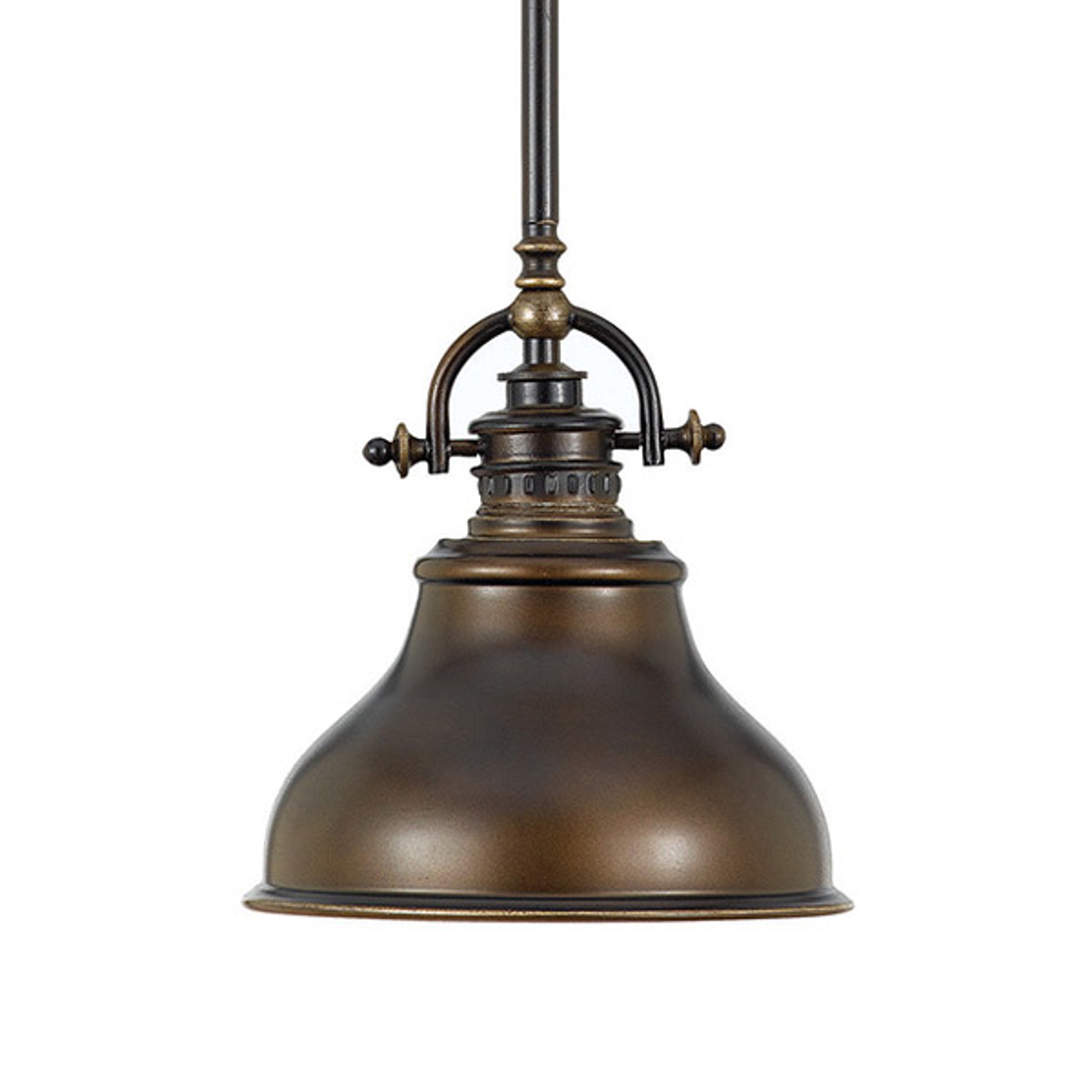 Závěsné světlo Emery, industriální, bronz Ø 20,3cm