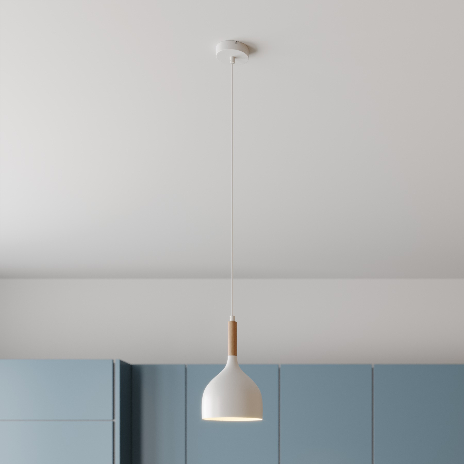 Hanglamp Noak, 1-lamp, wit/hout natuur