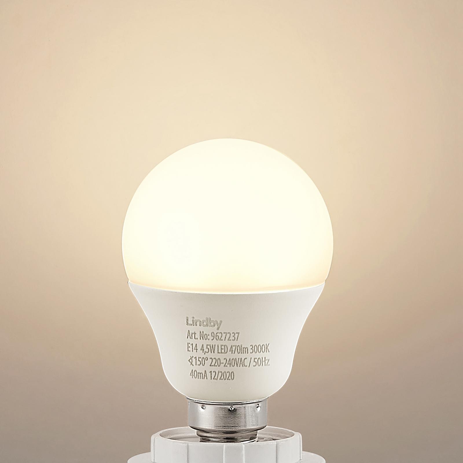 Lindby LED-dropplampa E14 G45 4,5W 3000 K opal