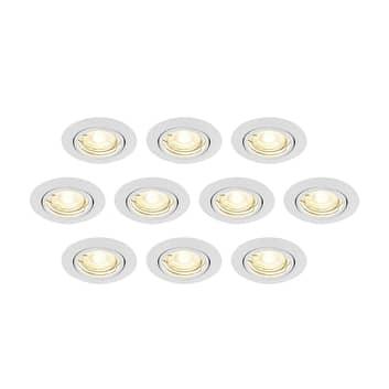 ELC Dakarra downlight set van 10, GU10 Ø8,8cm wit