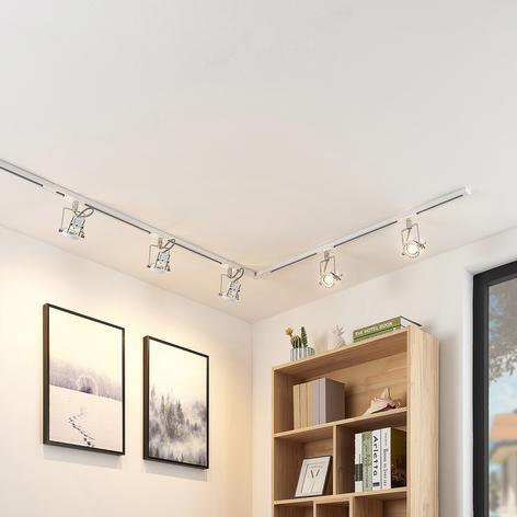 1-fase LED railsysteem Arika, 5 lampjes, wit