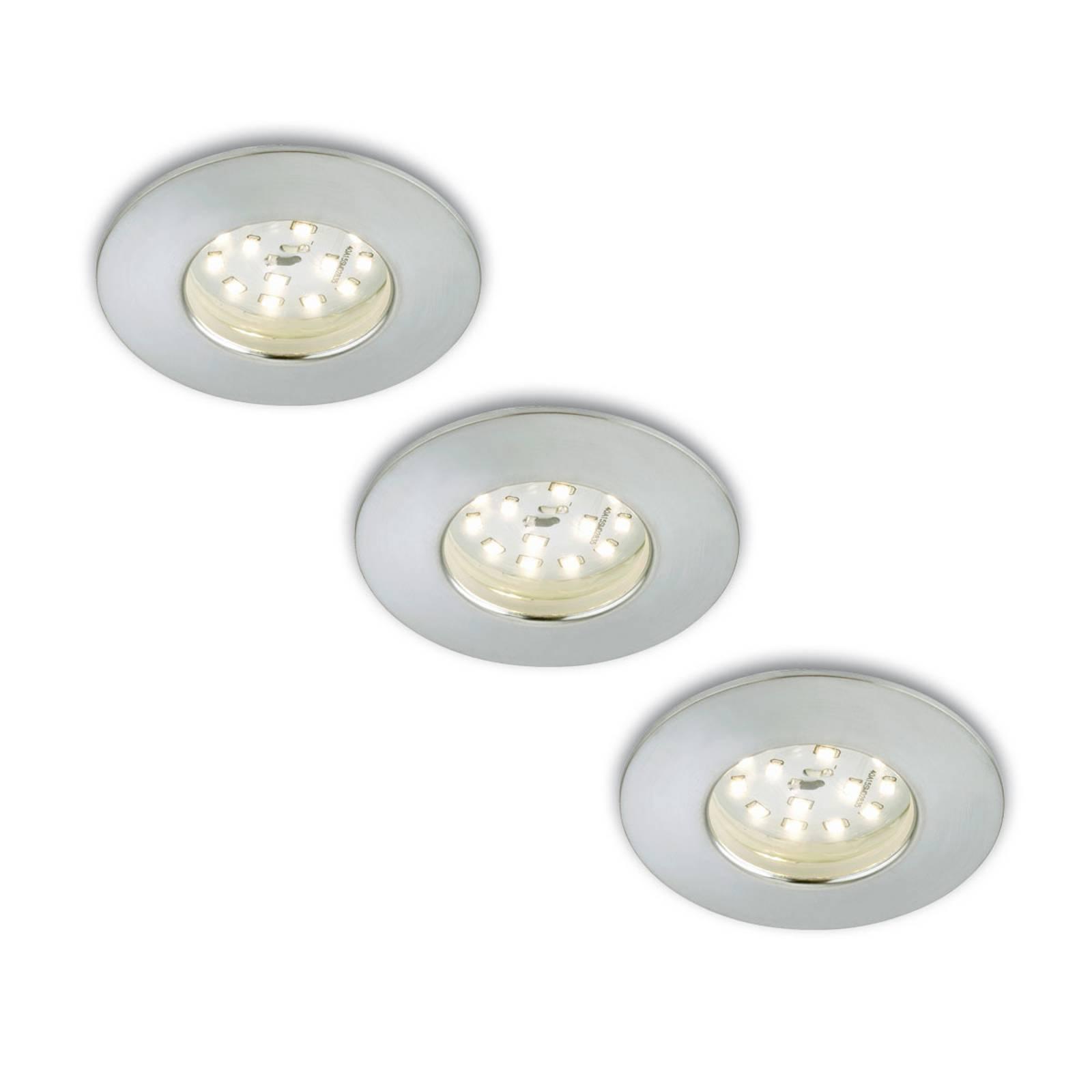 3er Set LED-Einbaustrahler Nikas IP44 alu