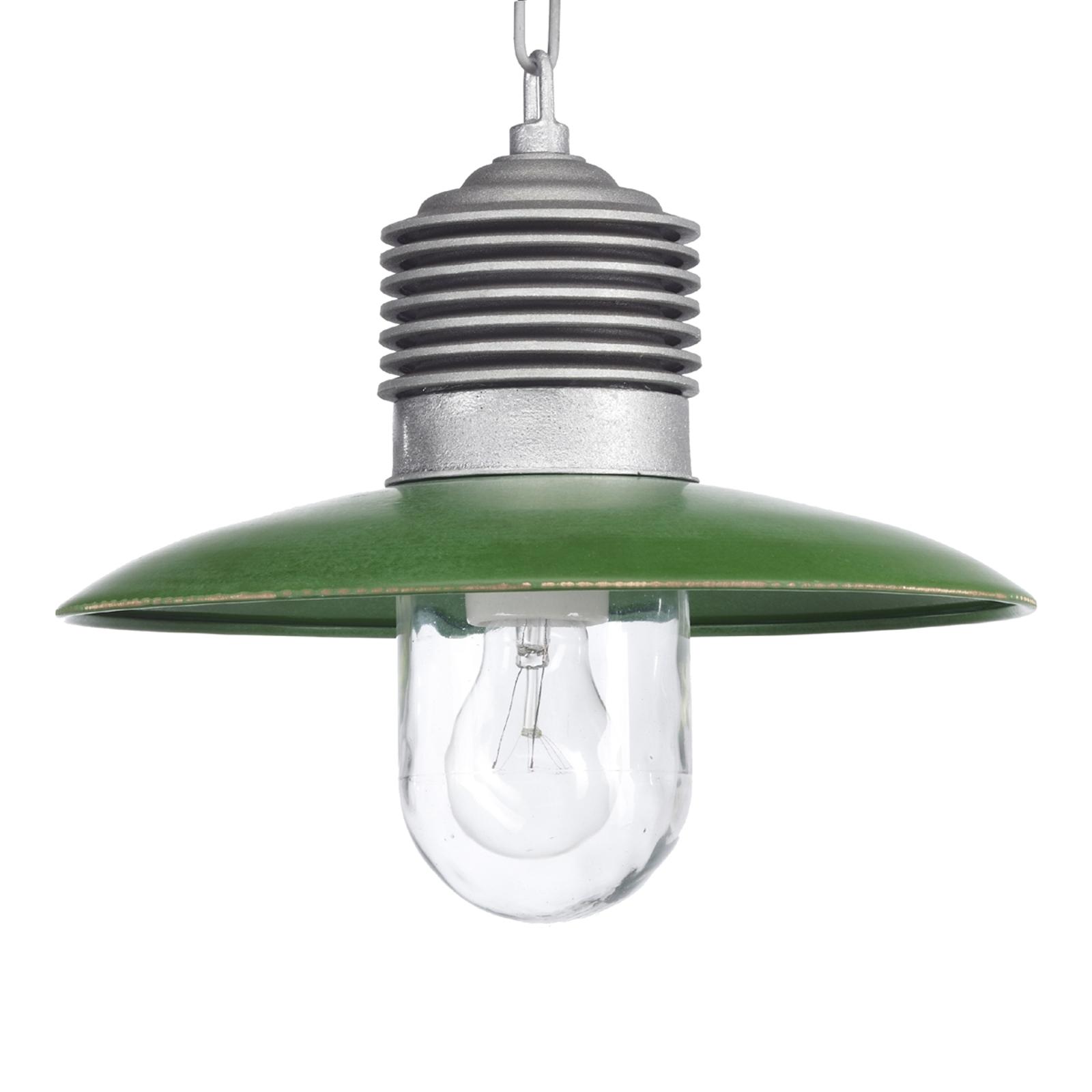 Klassisk utomhus-hänglampa Ampere aluminium/grön
