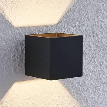 Lindby Mirza aplique de aluminio, angular, negro