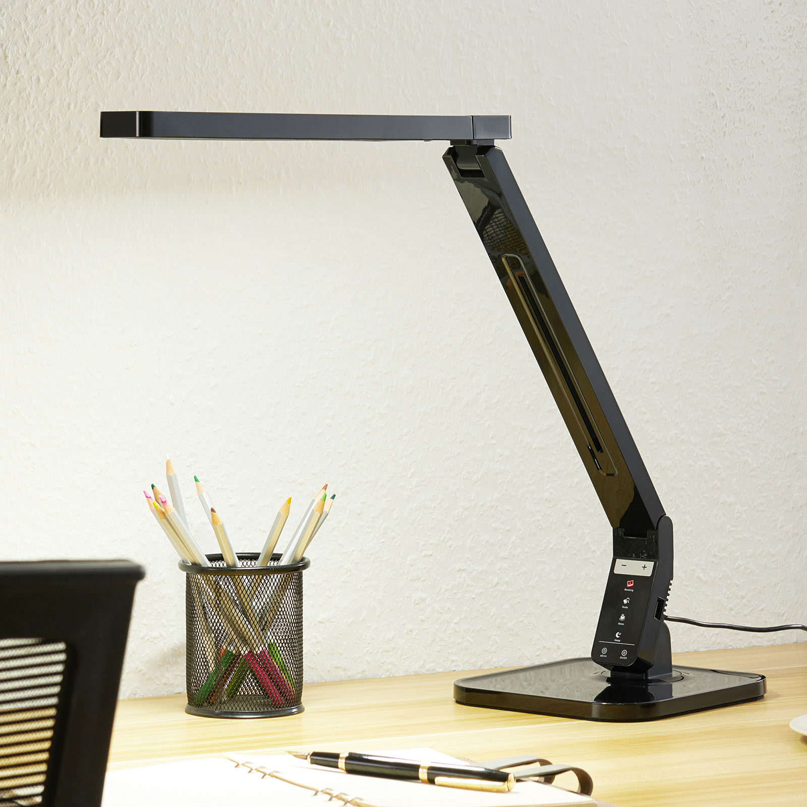 Arcchio Liano lampe de bureau LED, noire