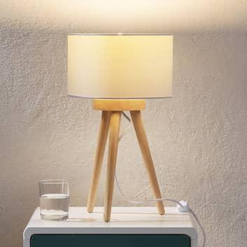 Bordslampa i trä Charlia med vit tygskärm