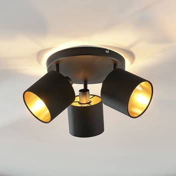 Tygtaklampa Vasilia i svart/guld, 3 lampor