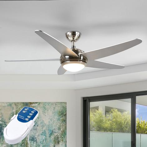 Hopeanvärinen, LED-valaistu kattotuuletin Anneka