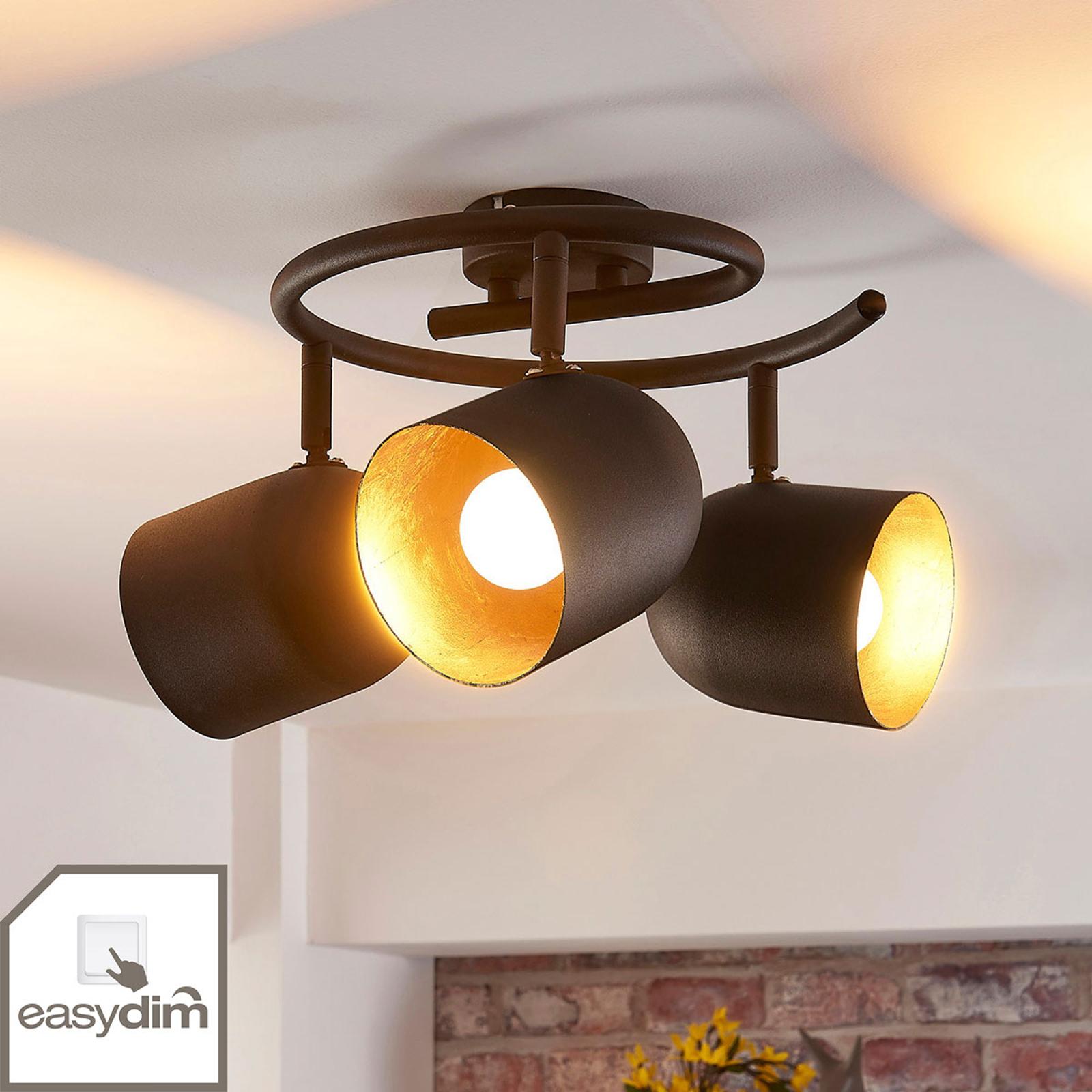 Zwart-gouden LED plafondlamp Morik, easydim