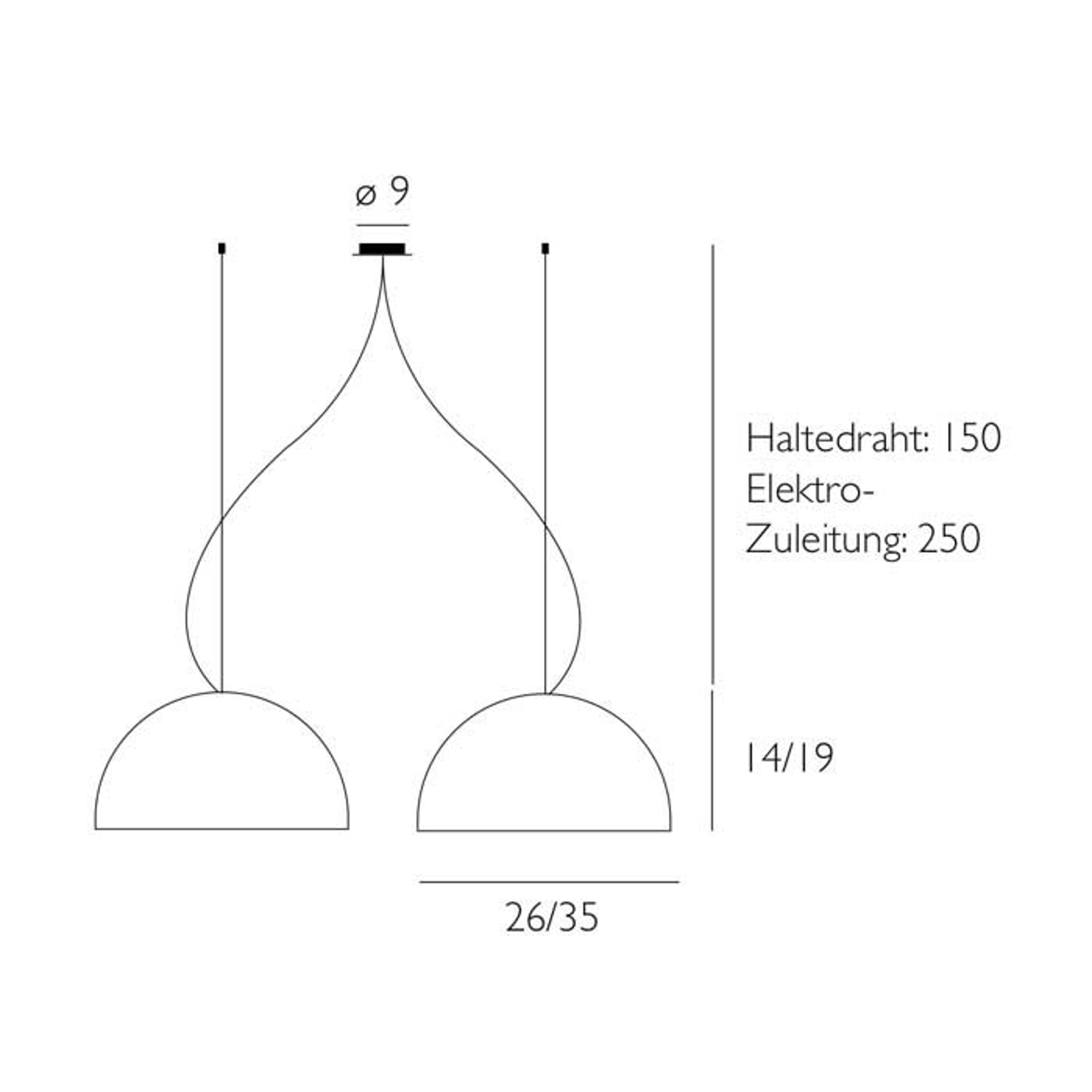 Pendellampe BOWL med 2 lyskilder, 26 cm
