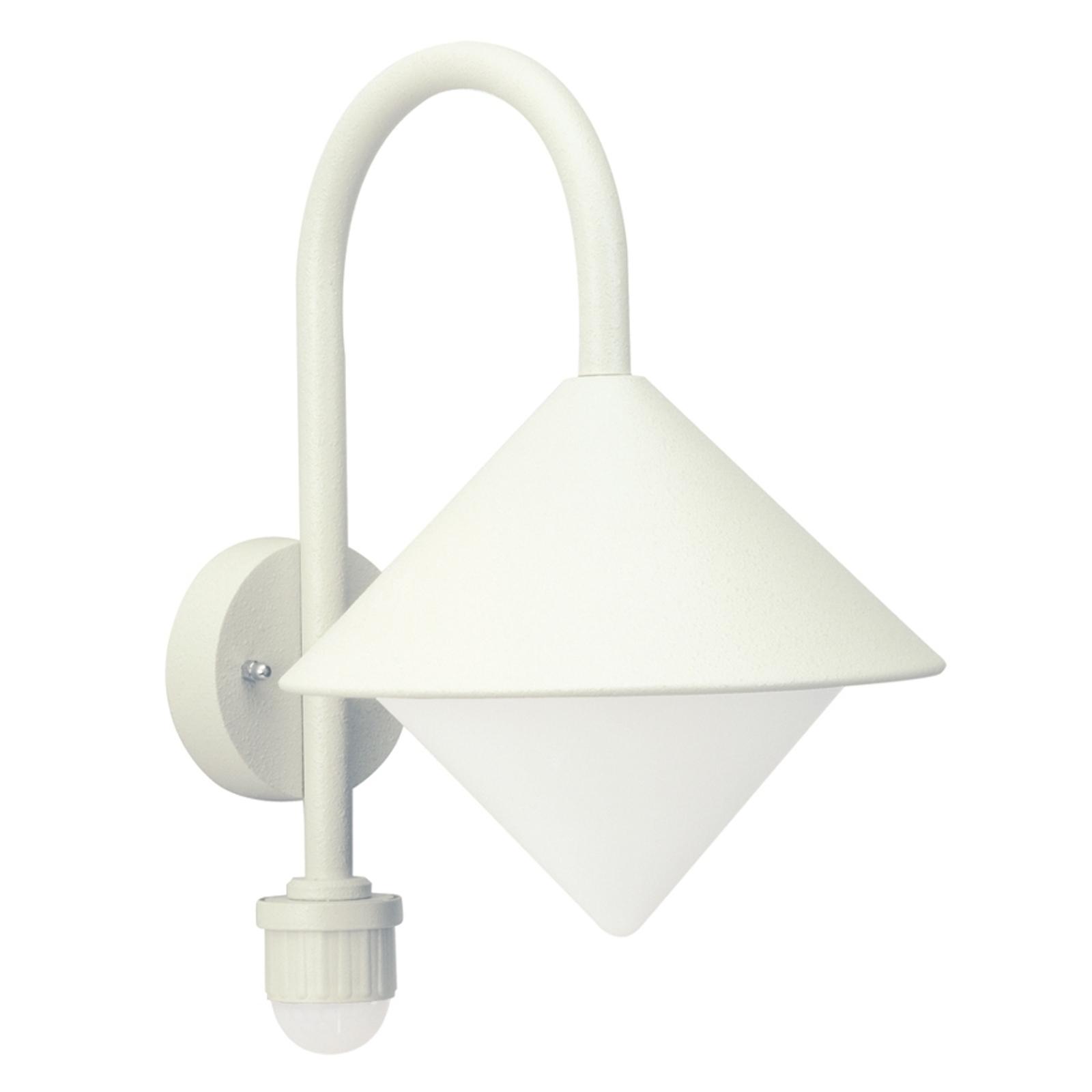 Zewnętrzna lampa ścienna Jolanda biała czujnik