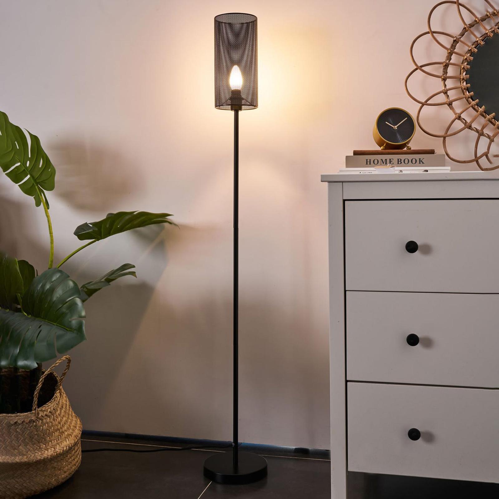 Pauleen Black Mesh Stehlampe aus schwarzem Metall