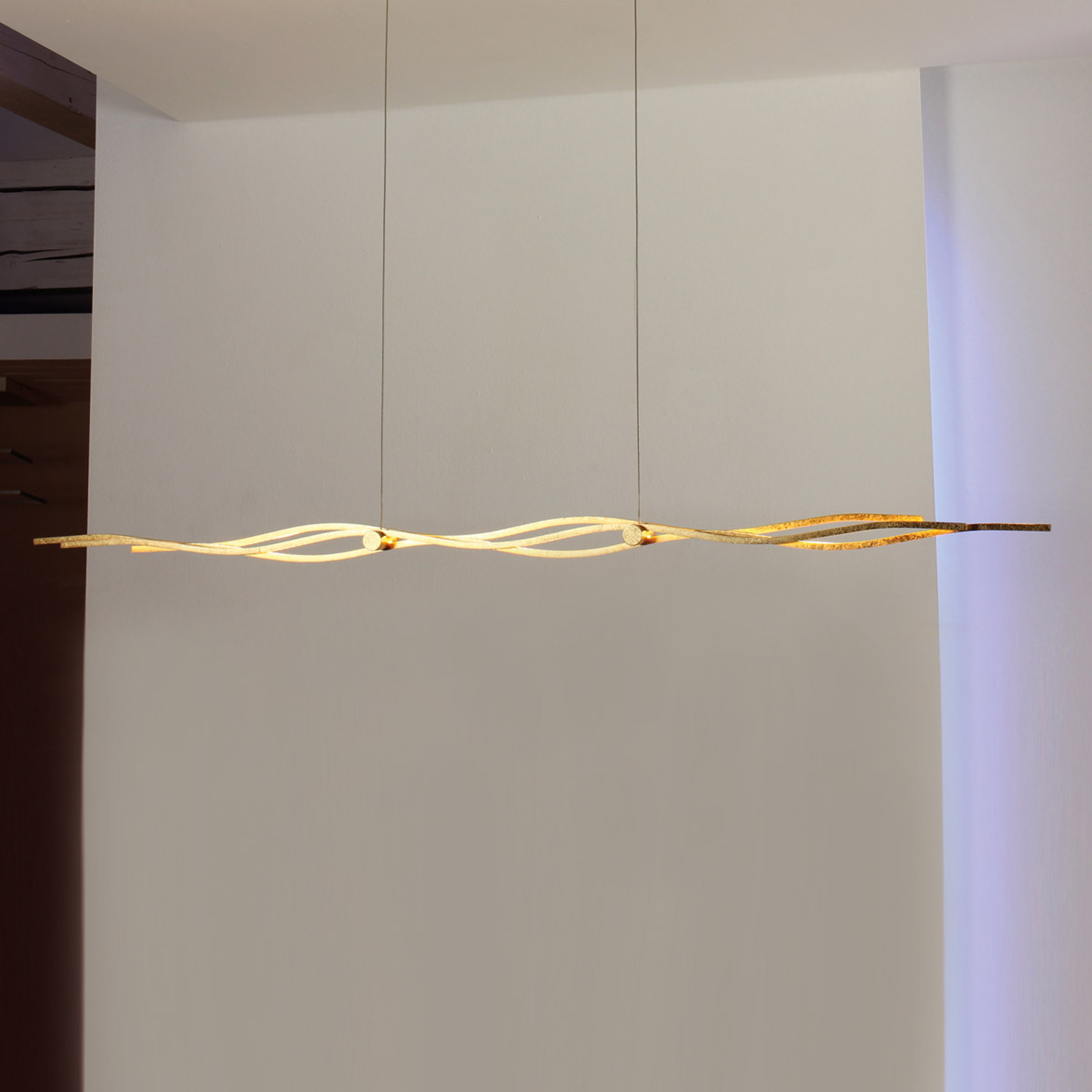Beautiful LED pendant light Silk, gold leaf 120 cm_3051094_1