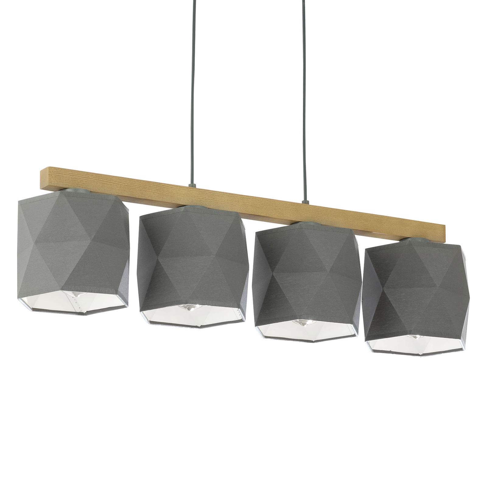 Hanglamp Fano, hout en textiel, 4-lamps