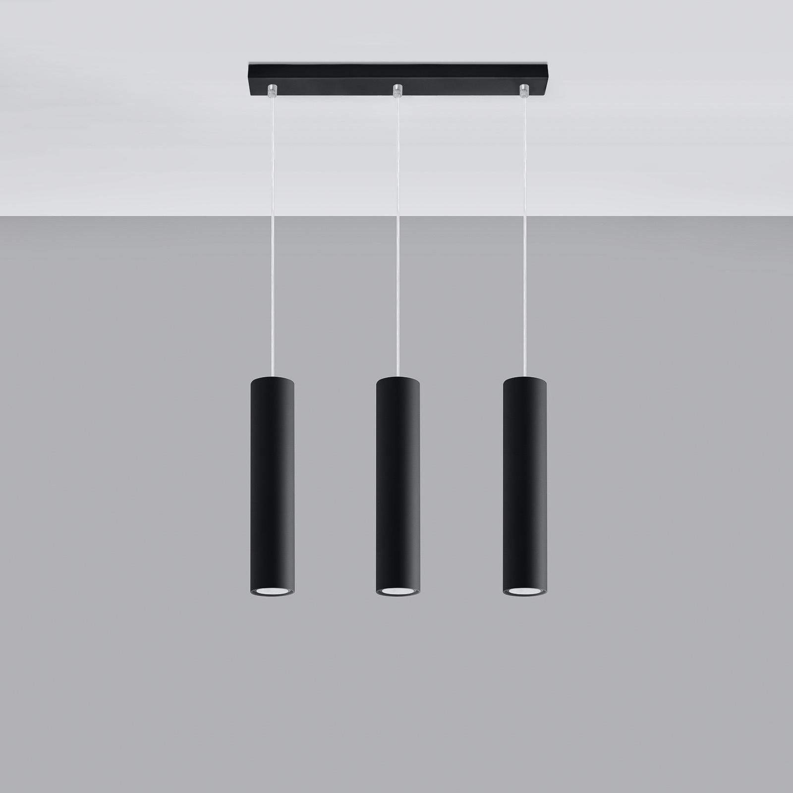 Lampa wisząca Tube, czarna, 3-punktowa