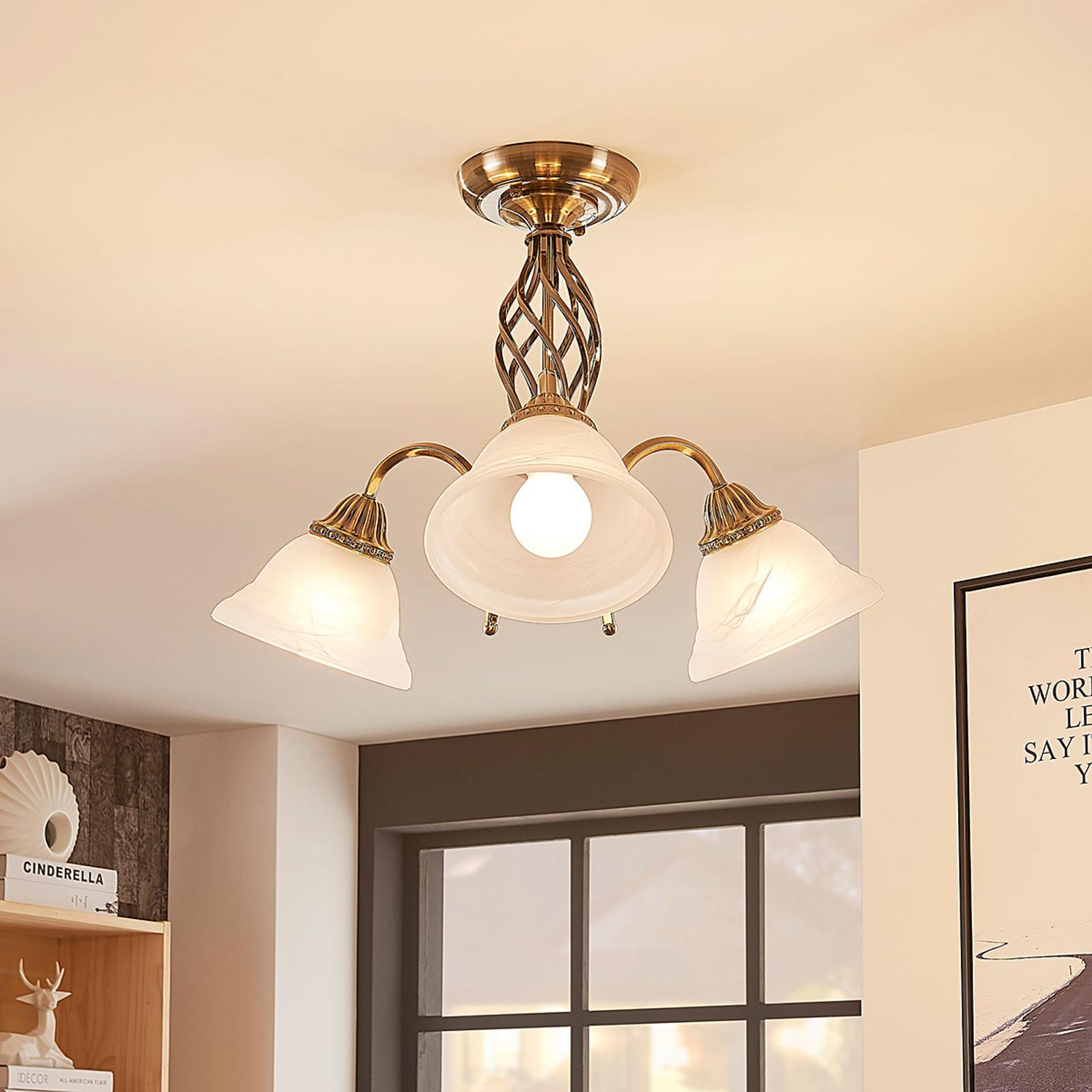Plafonnier Mialina en laiton ancien à 3 lampes