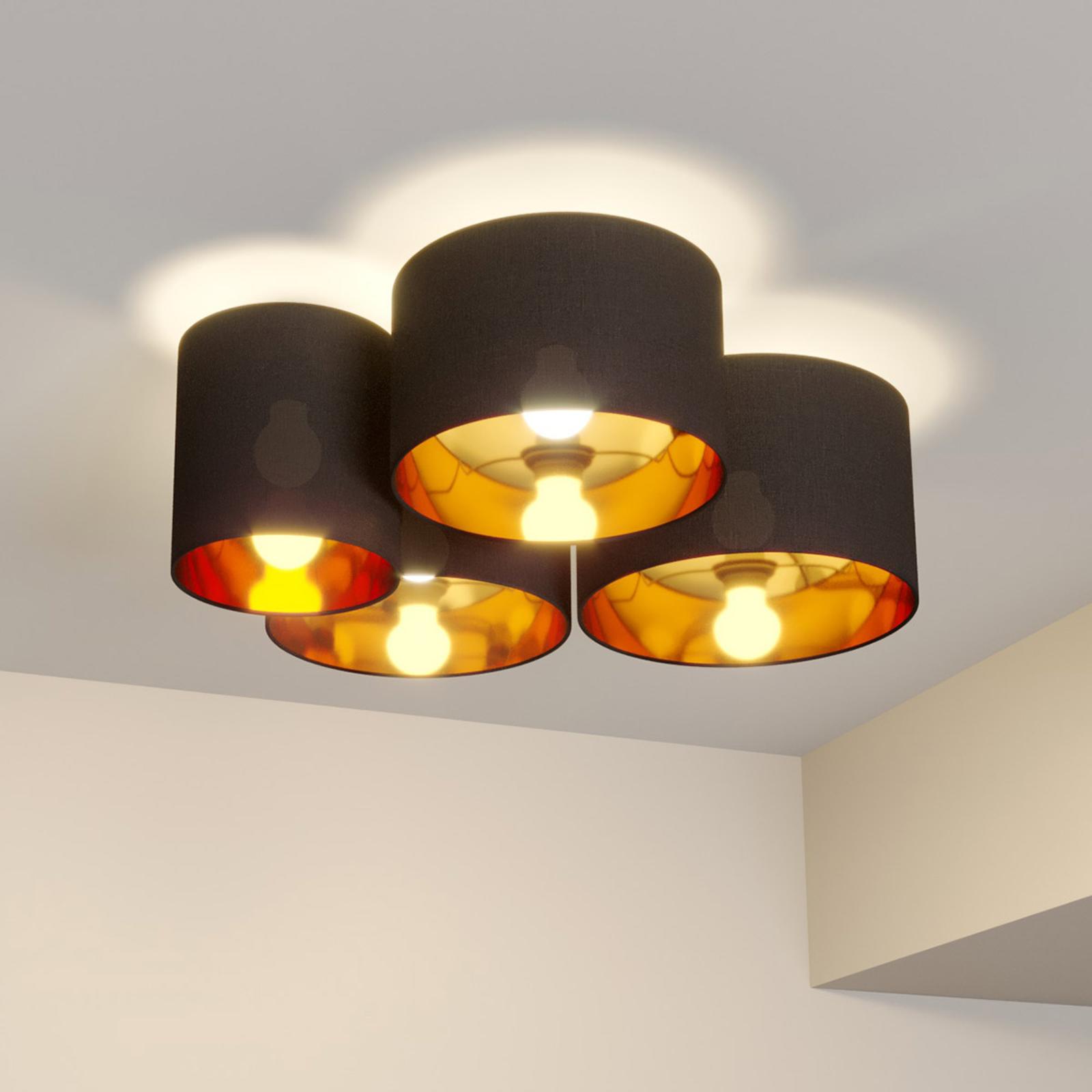 Lindby Laurenz plafonnier, 4 lampes, gris-doré