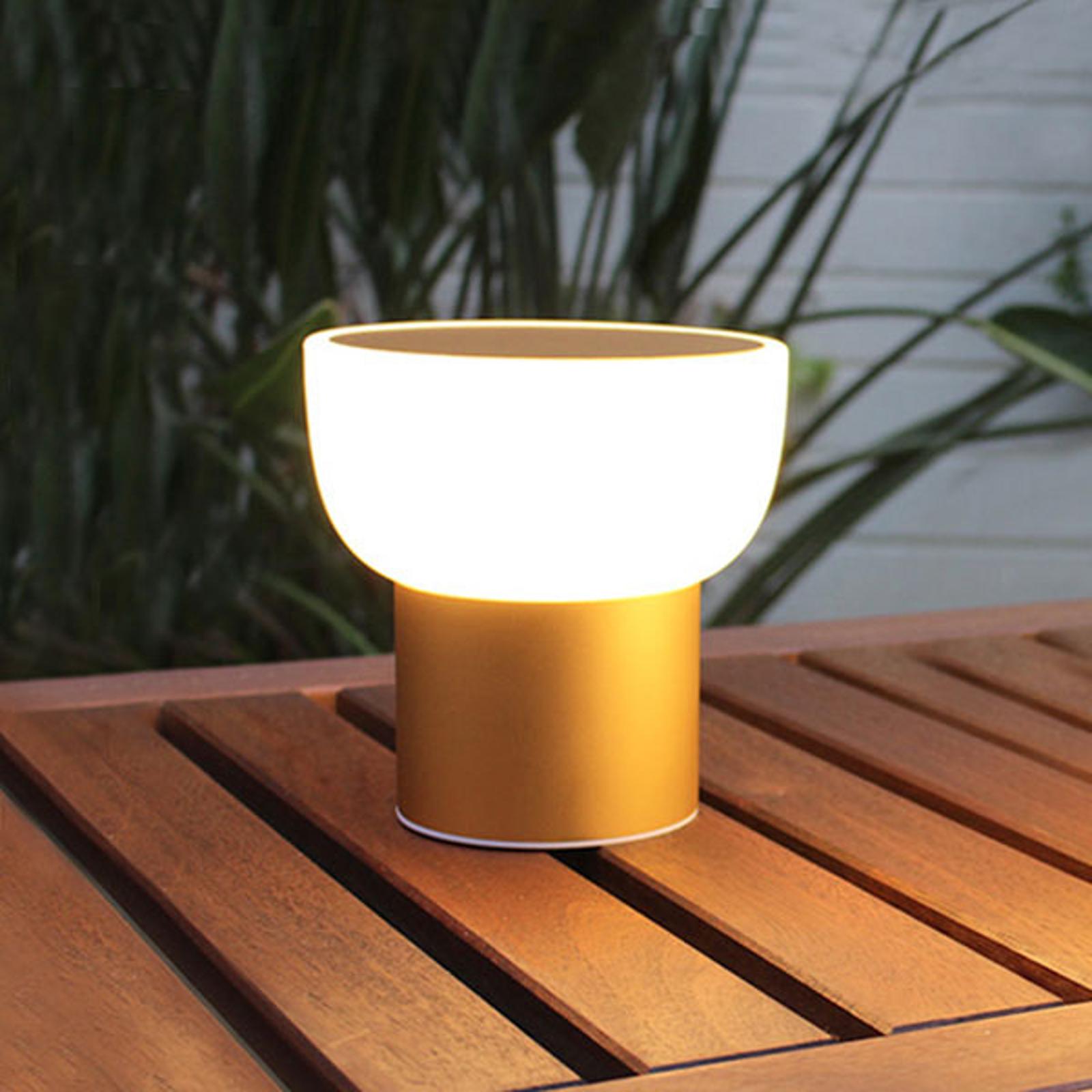 Utendørs LED-dekorlampe Patio gull 16 cm 1 x USB