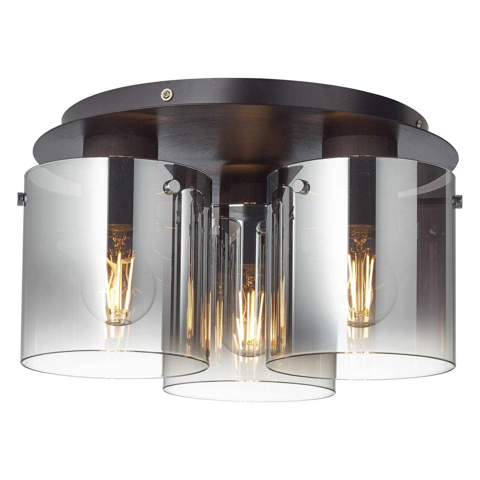 Plafondlamp Beth met rookglas, 3-lamps