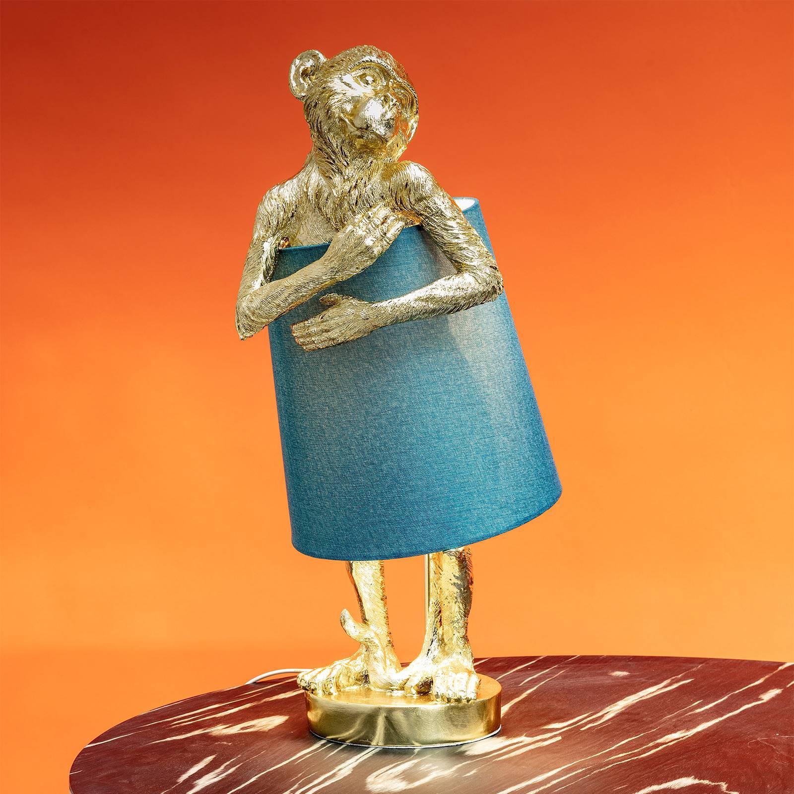KARE Animal Monkey tafellamp goud/blauw