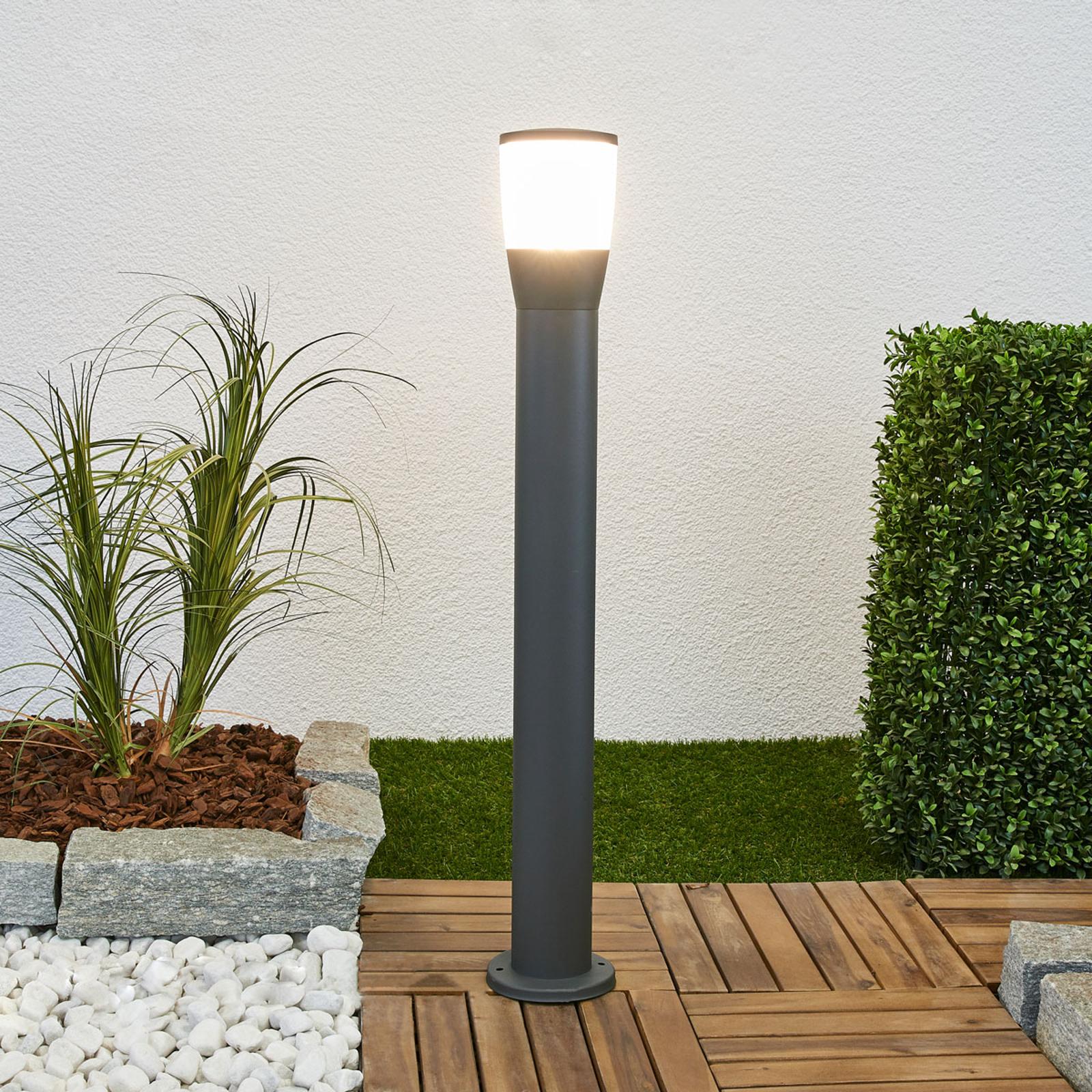 Alumin. słupek ogrodowy Melanie z LED, ciemnoszary